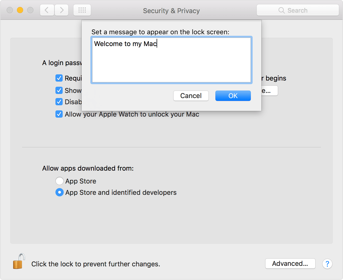 Mac Trick: Add a Custom Lock Message on Login Screen