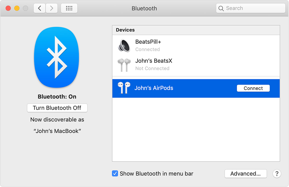 Connect AirPods to a Mac
