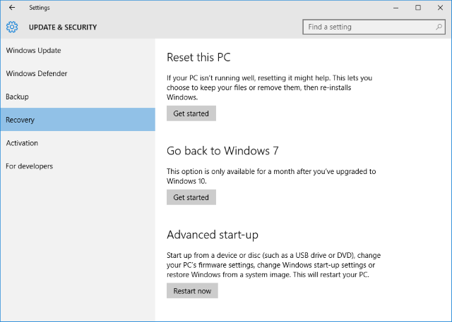 windows 10 settings Recovery