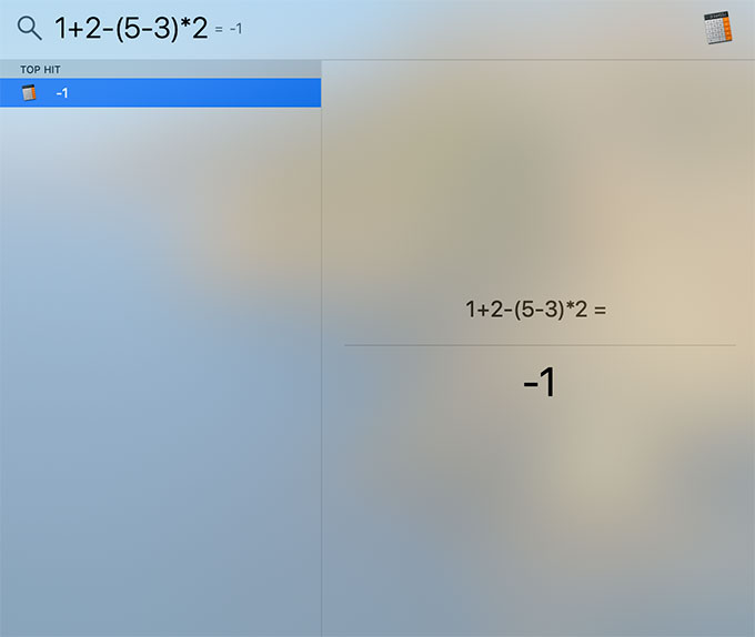 Spotlight for calculation