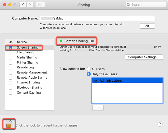 screen sharing turn on