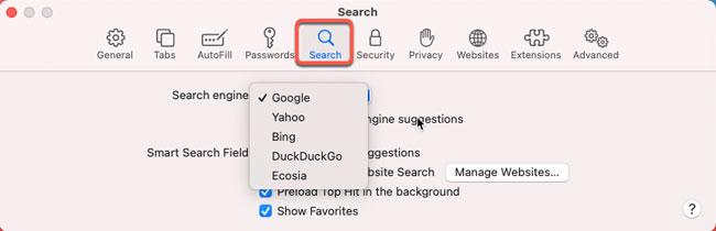 set default search engine for Safari